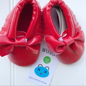 NWT Cherry Red Infant Moccasins | 0-6 months